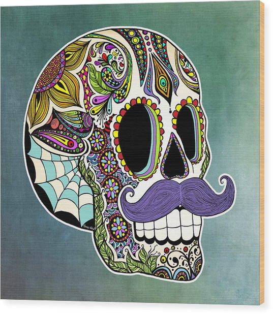 Mustache Sugar Skull Wood Print
