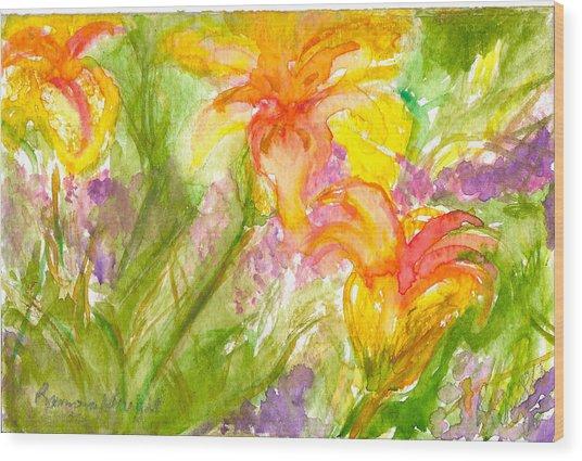 Muti-colored Flowers Wood Print by Ramona Wright