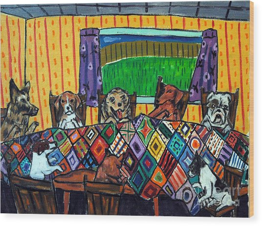 Mutts Quilting Wood Print by Jay  Schmetz