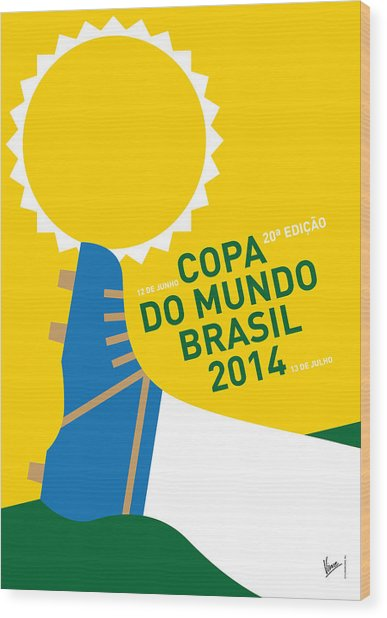 My 2014 World Cup Soccer Brazil - Rio Minimal Poster Wood Print