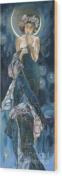 My Acrylic Painting As An Interpretation Of The Famous Artwork Of Alphonse Mucha - Moon - Wood Print