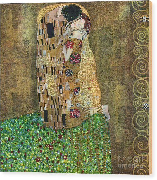 My Acrylic Painting As An Interpretation Of The Famous Artwork Of Gustav Klimt The Kiss - Yakubovich Wood Print