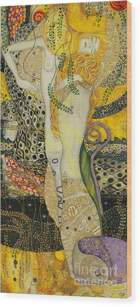 My Acrylic Painting As An Interpretation Of The Famous Artwork Of Gustav Klimt - Water Serpents I Wood Print