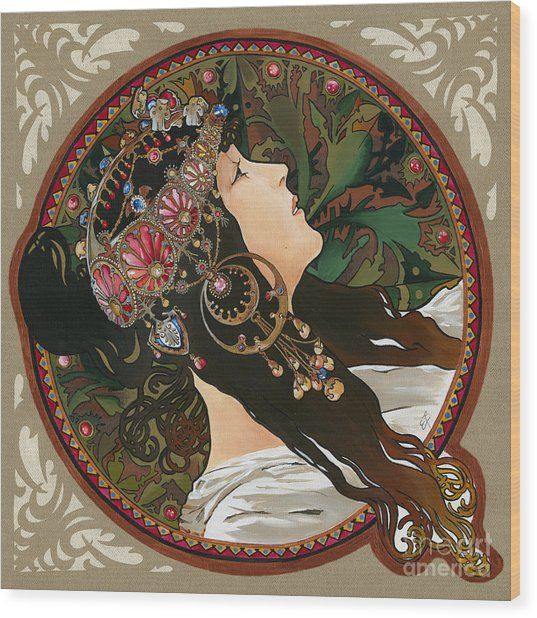 My Acrylic Painting As Interpretation Of Alphonse Mucha - Byzantine Head The Brunette Diagonal Frame Wood Print