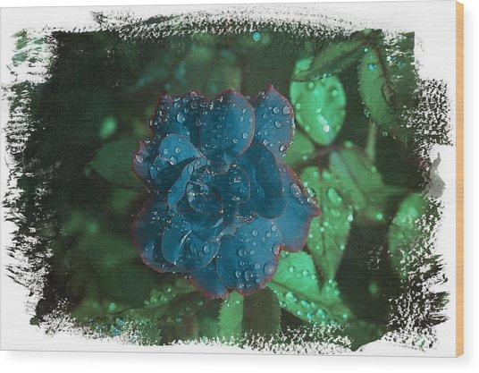 My Blue Rose Wood Print