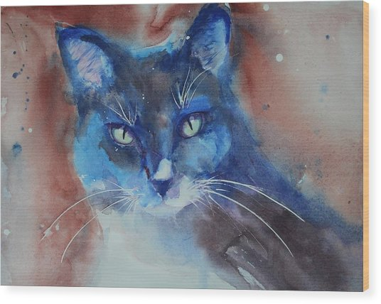Wood Print featuring the painting My Cat Spook by Ruth Kamenev