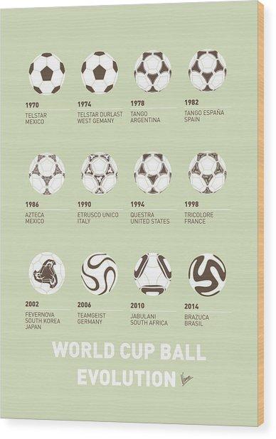 My Evolution Soccer Ball Minimal Poster Wood Print