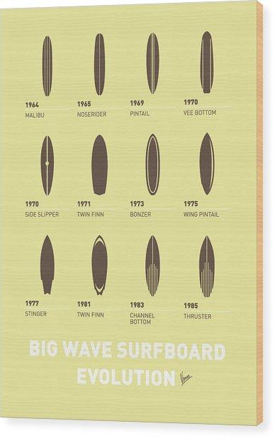 My Evolution Surfboards Minimal Poster Wood Print