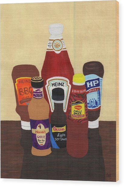 My Favourite Sauces Wood Print by Bav Patel