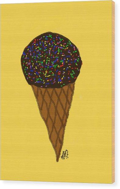 My First Ice Cream Cone Wood Print