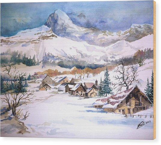 My First Snow Scene Wood Print