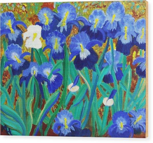 My Iris - Inspired  By Vangogh Wood Print