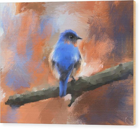 My Little Bluebird Wood Print