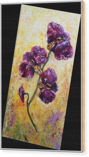 My Little Violet Orchids  Wood Print