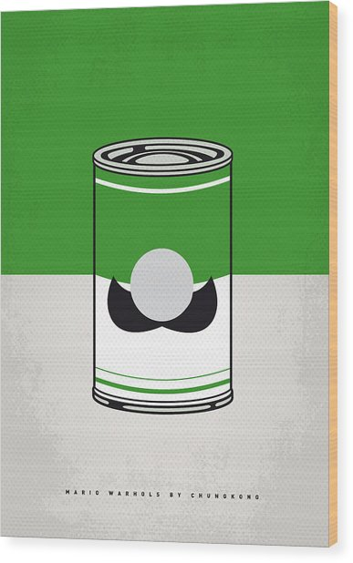 My Mario Warhols Minimal Can Poster-luigi Wood Print