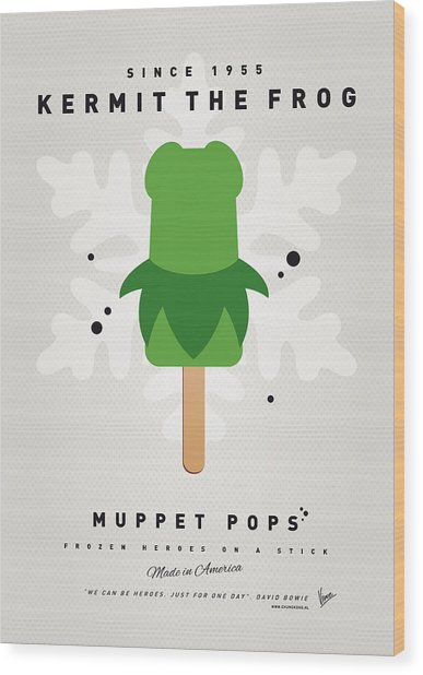 My Muppet Ice Pop - Kermit Wood Print