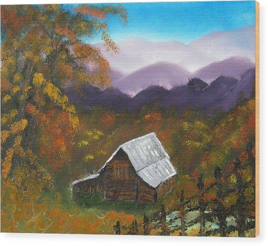 My Neighbors Barn Big Sandy Mush Nc Wood Print by Margaret G Calenda