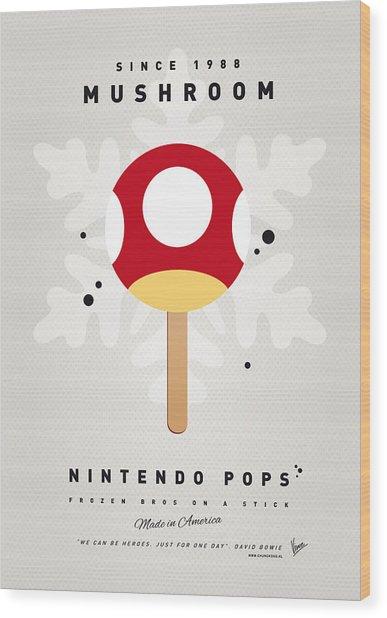 My Nintendo Ice Pop - Mushroom Wood Print