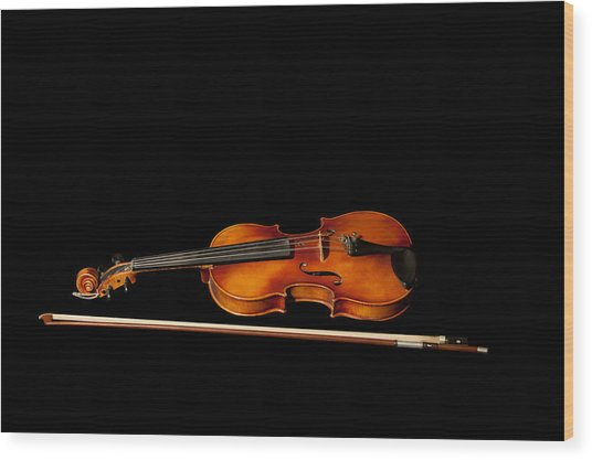 My Old Fiddle And Bow Wood Print