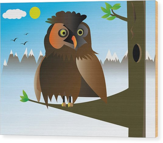 My Owl Wood Print by Kenneth Feliciano
