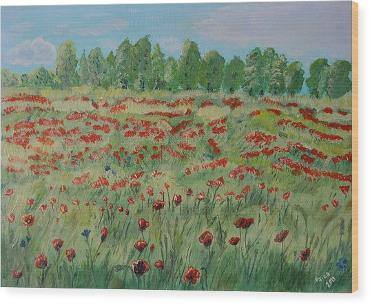 My Poppies Field Wood Print
