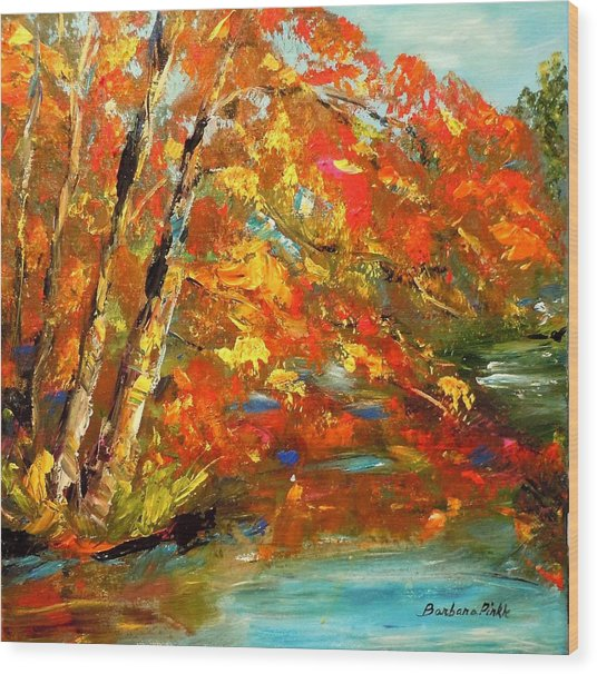 My Side Of The River Wood Print by Barbara Pirkle