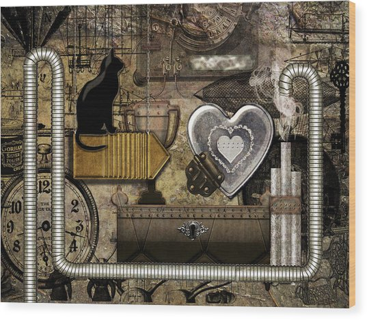 My Steampunk Heart Wood Print