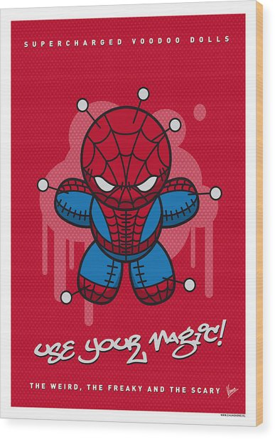 My Supercharged Voodoo Dolls Spiderman Wood Print