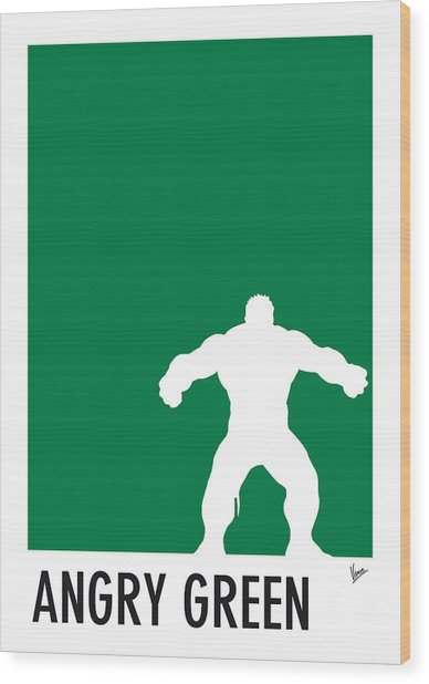 My Superhero 01 Angry Green Minimal Poster Wood Print