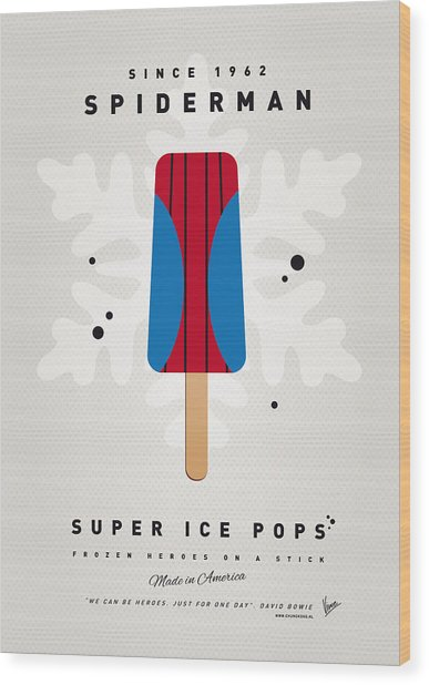 My Superhero Ice Pop - Spiderman Wood Print