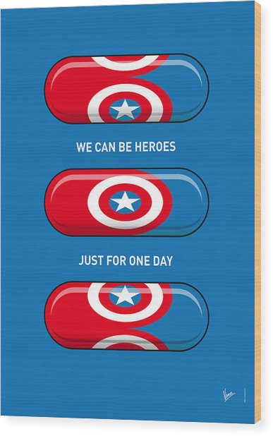 My Superhero Pills - Captain America Wood Print