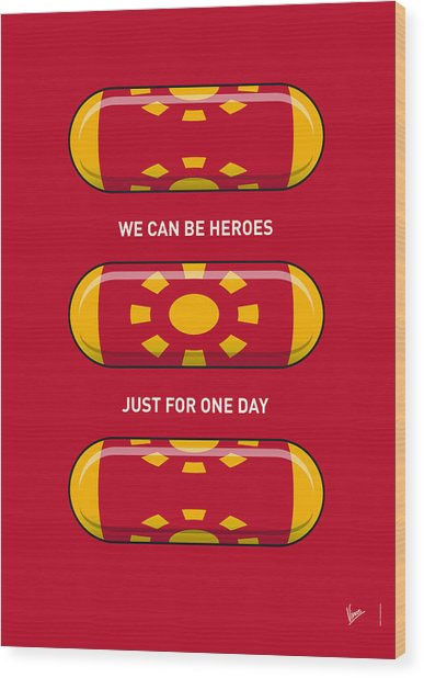 My Superhero Pills - Iron Man Wood Print
