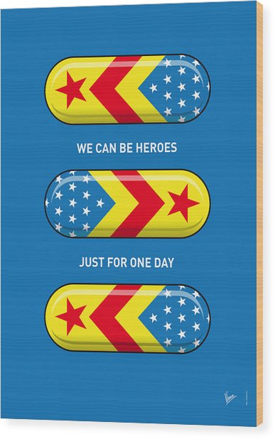 My Superhero Pills - Wonder Woman Wood Print