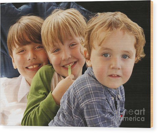 My Three Grandsons Wood Print