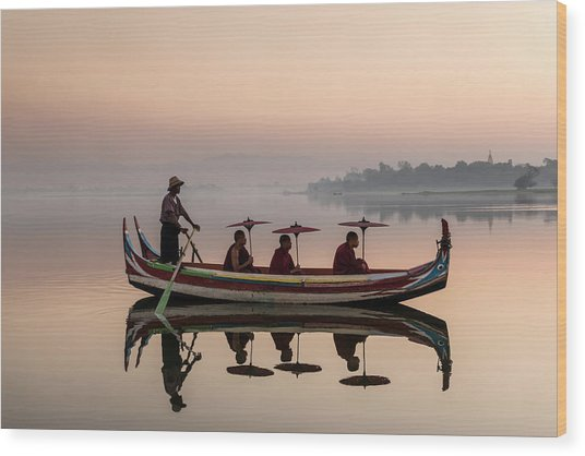 Myanmar, Monks In Boat At Ubein Bridge Wood Print by Martin Puddy