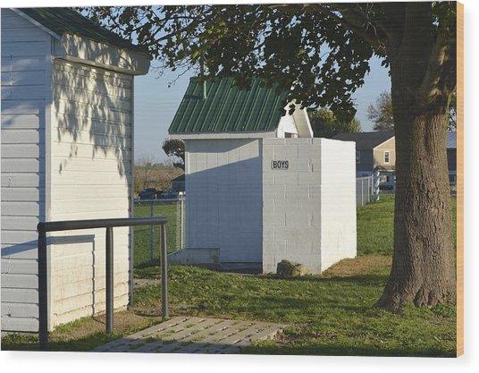 Boys Outhouse Wood Print