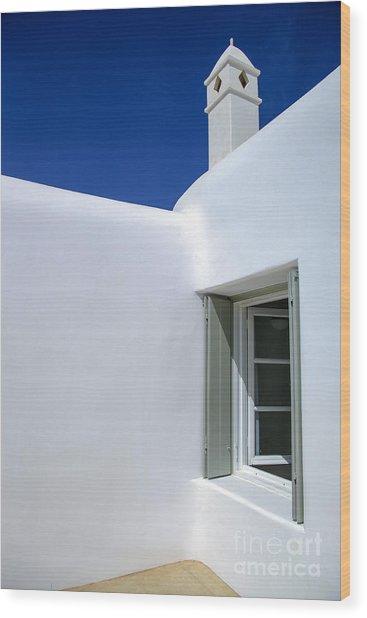 Mykonos Abode Wood Print