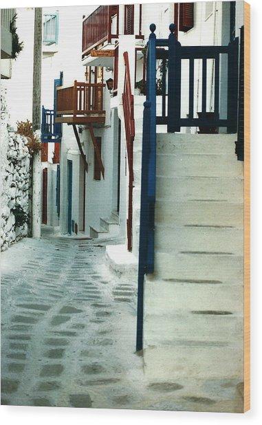 Mykonos Charm Wood Print by Jacqueline M Lewis