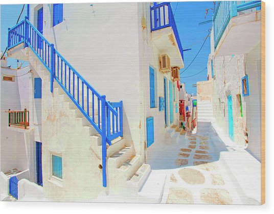 Mykonos IIi (from The Series postcards From Greece) Wood Print