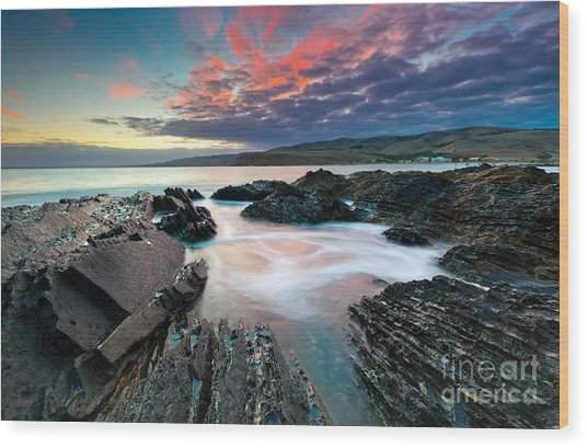 Myponga Beach Sunrise Wood Print