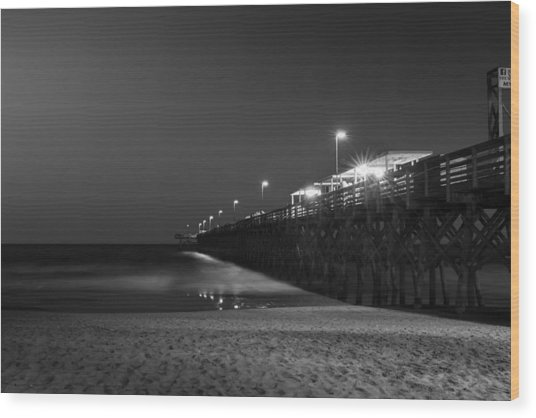 Myrtle Beach 2nd Ave Pier At Night II Wood Print