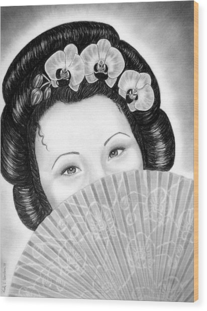 Mysterious - Geisha Girl With Orchids And Fan Wood Print by Nicole I Hamilton
