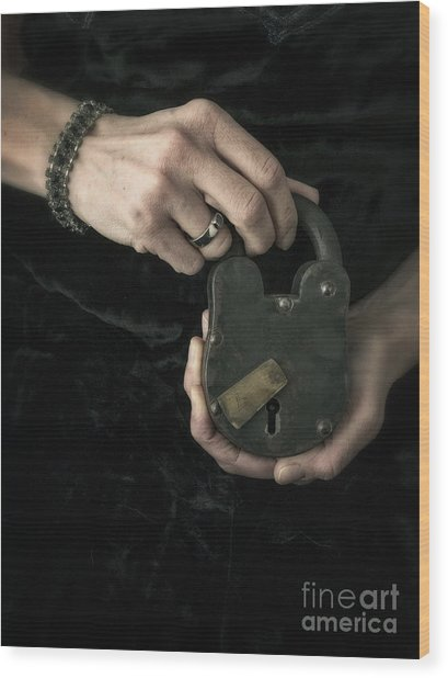 Mysterious Woman With Lock Wood Print