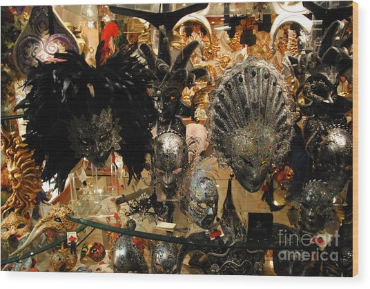Carnival Of Venice Wood Print by Jacqueline M Lewis