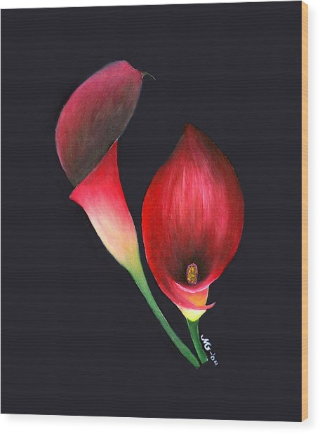 Mystic Calla Lillies Wood Print by Mary Gaines