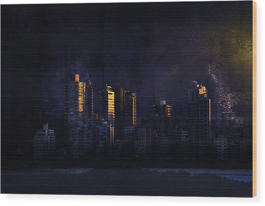 Mystic Orange Glowing Sunrise On Vancouver   Wood Print