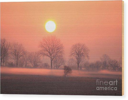Mystic Red Sunrise Wood Print