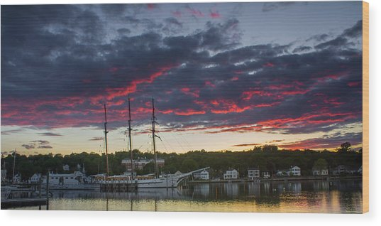 Mystic River Burning Sunset Wood Print