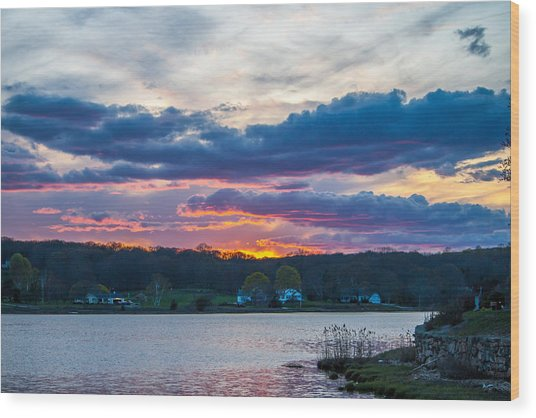 Mystic River Sunset Wood Print