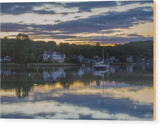 Mystic River Sunset Reflection Wood Print